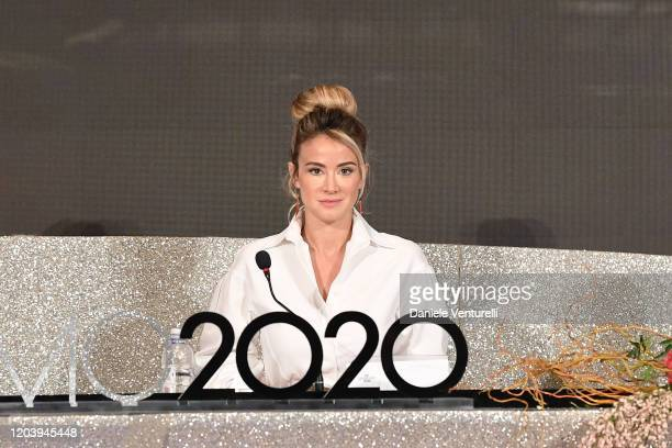 Diletta Leotta attends the press conference at the 70° Festival di Sanremo at Teatro Ariston on February 04 2020 in Sanremo Italy