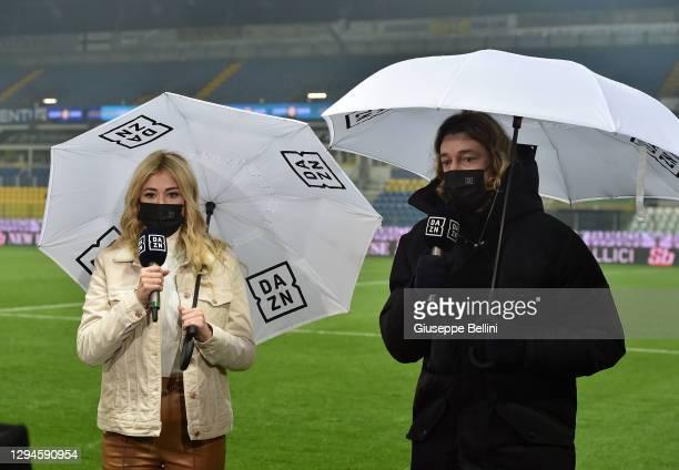 Diletta Leotta, DAZN television presenter with the former player and now commentator Federico Balzaretti prior the Serie A match between Parma Calcio...