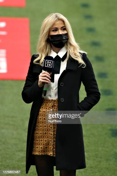 Diletta Leotta during the Serie A match between AC Milan and ACF Fiorentina at Stadio Giuseppe Meazza on November 29, 2020 in Milan, Italy.