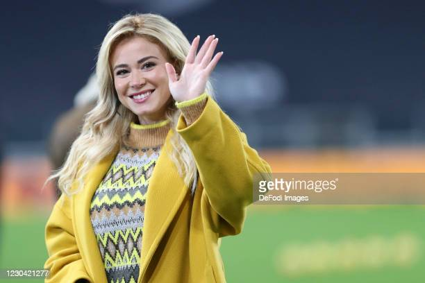Diletta Leotta gestures during the Serie A match between Juventus and Udinese Calcio on January 3, 2021 in Turin, Italy.
