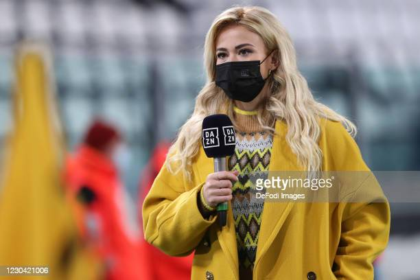 Diletta Leotta gives an interview during the Serie A match between Juventus and Udinese Calcio on January 3, 2021 in Turin, Italy.