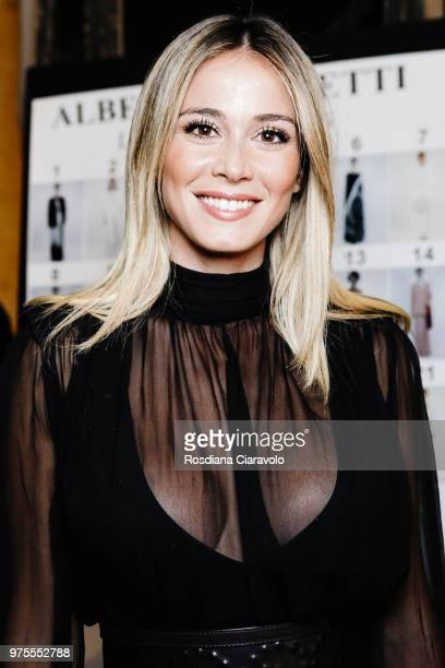 Diletta Leotta is seen backstage ahead of the Alberta Ferretti show during Milan Men's Fashion Week Spring/Summer 2019 on June 15 2018 in Milan Italy