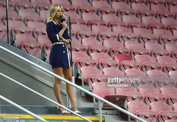 Diletta Leotta of DAZN before the Serie A match between AC Milan and Juventus at Stadio Giuseppe Meazza on July 7 2020 in Milan Italy