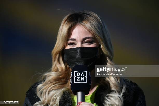 Diletta Leotta of Dazn during the Serie A match between Parma Calcio and AS Roma at Stadio Ennio Tardini on March 14, 2021 in Parma, Italy.