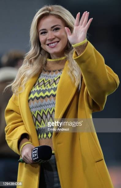 Diletta Leotta of DAZN greets the photographers prior to the Serie A match between Juventus and Udinese Calcio at Allianz Stadium on January 03, 2021...