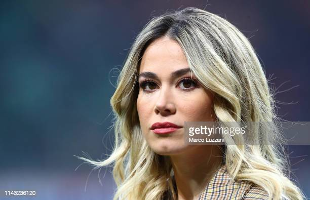 Diletta Leotta of DAZN looks on before the Serie A match between AC Milan and SS Lazio at Stadio Giuseppe Meazza on April 13 2019 in Milan Italy
