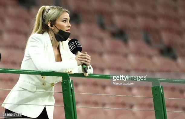 Diletta Leotta of DAZN looks on during the Serie A match between AC Milan and Benevento Calcio at Stadio Giuseppe Meazza on May 01, 2021 in Milan,...