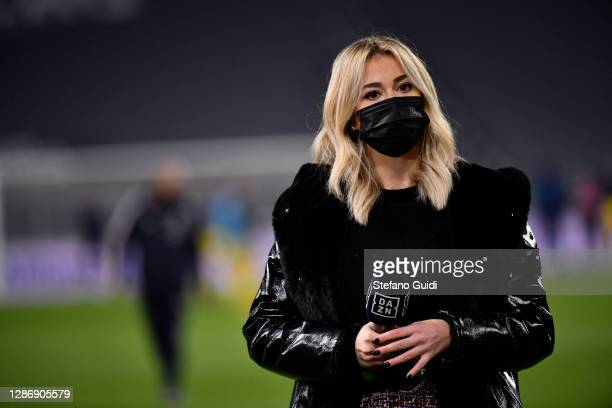 Diletta Leotta of Dazn prior to the Serie A match between Juventus and Cagliari Calcio at Allianz Stadium on November 21, 2020 in Turin, Italy.