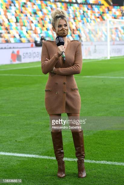 Diletta Leotta of DAZN TV before the Serie A match between Udinese Calcio and AC Milan at Dacia Arena on November 01, 2020 in Udine, Italy.