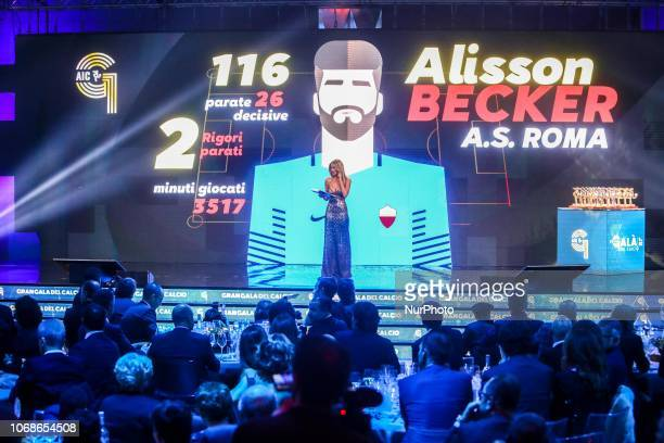Diletta Leotta presents Allison Becker at 'Oscar Del Calcio AIC' Italian Football Awards in Milan Italy on December 03 2018