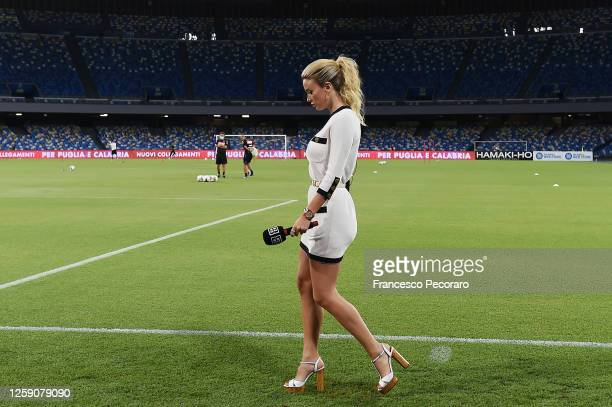 Diletta Leotta TV presenter before the Serie A match between SSC Napoli and US Sassuolo at Stadio San Paolo on July 25 2020 in Naples Italy