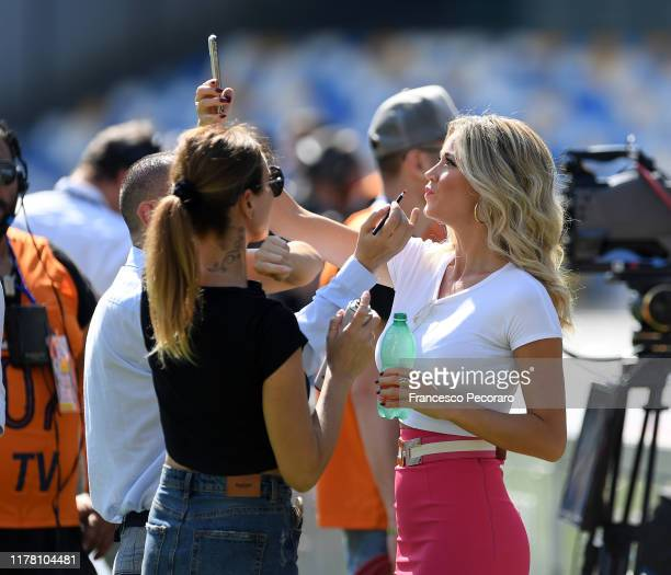 Diletta Leotta Tv presenter for DAZN before the Serie A match between SSC Napoli and Brescia Calcio at Stadio San Paolo on September 29 2019 in...