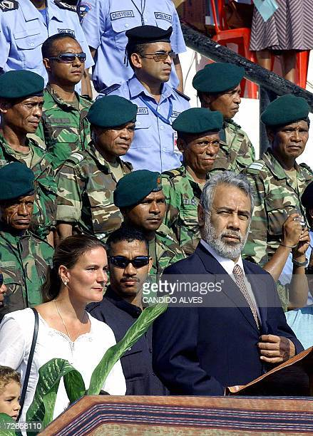 East Timorese President Xanana Gusmao accompanied by First Lady Kirsty Sword Gusmao attends a ceremony in Dili 28 November 2006 to mark anniversary...