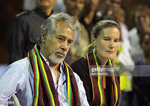 East Timorese President Xanana Gusmao and his wife Khirsty sit together during a party at their residence in BalibarDili 12 May 2007 The Nobel...