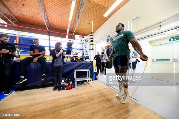 Dilian Whyte Media Workout at Loughborough University on July 09 2019 in Loughborough England