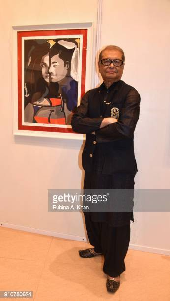 Dilip De with 'In The Mood For Seduction' digital artwork at his Smartphone School Of Art Exhibit 'Celebration Of The Unexpected' at Jehangir Art...