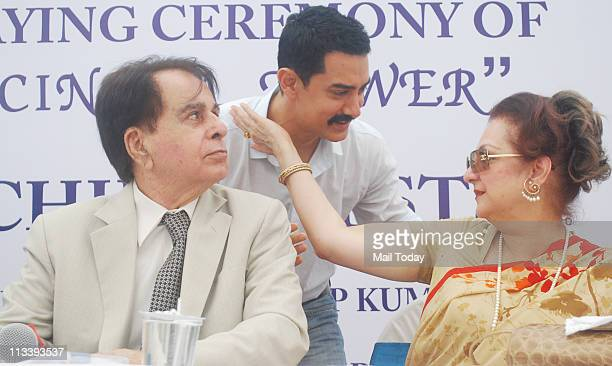Dilip Kumar Aamir Khan and Saira Banu at the foundation stone laying ceremony of CINTAA Tower at Andheri in Mumbai