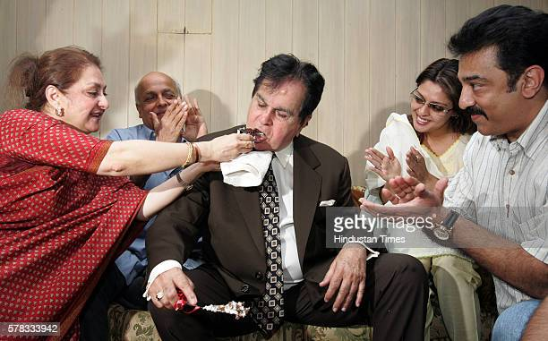 Dilip Kumar who turned 83 on Sunday being greeted by his wife Saira Banu at his residence at Pali Hill Bandra Kamal Hassan who is a big fan of the...
