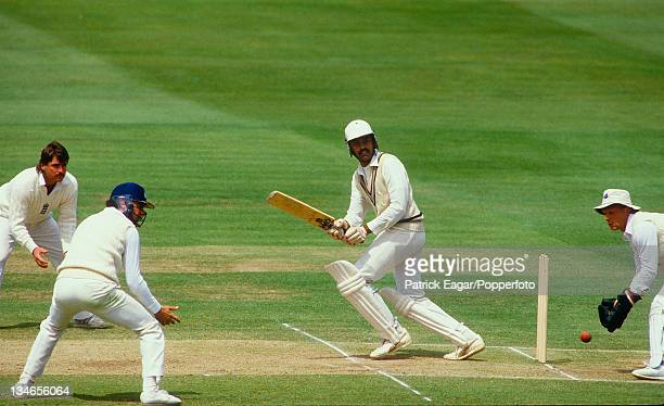 Dilip Vengsarkar during his century; Lamb and Robinson and Downton look on, England v India, 1st Test, Lord's, Jun 86.