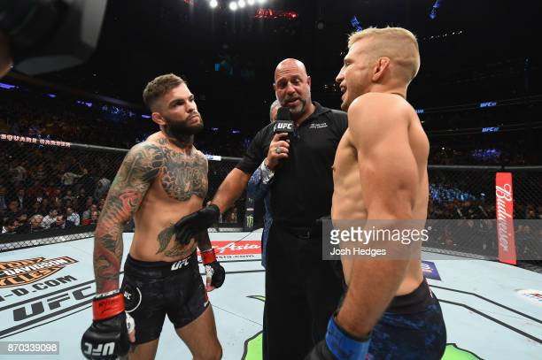 Dillashaw and Cody Garbrandt face off before their UFC bantamweight championship bout during the UFC 217 event at Madison Square Garden on November 4...