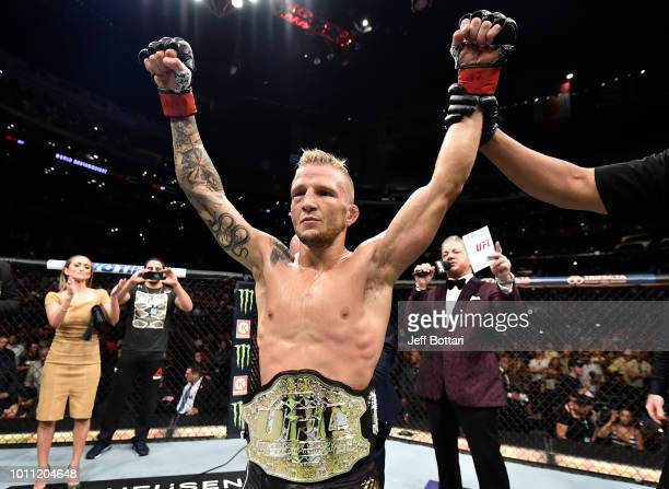 Dillashaw celebrates after his knockout victory over Cody Garbrandt in their UFC bantamweight championship fight during the UFC 227 event inside...