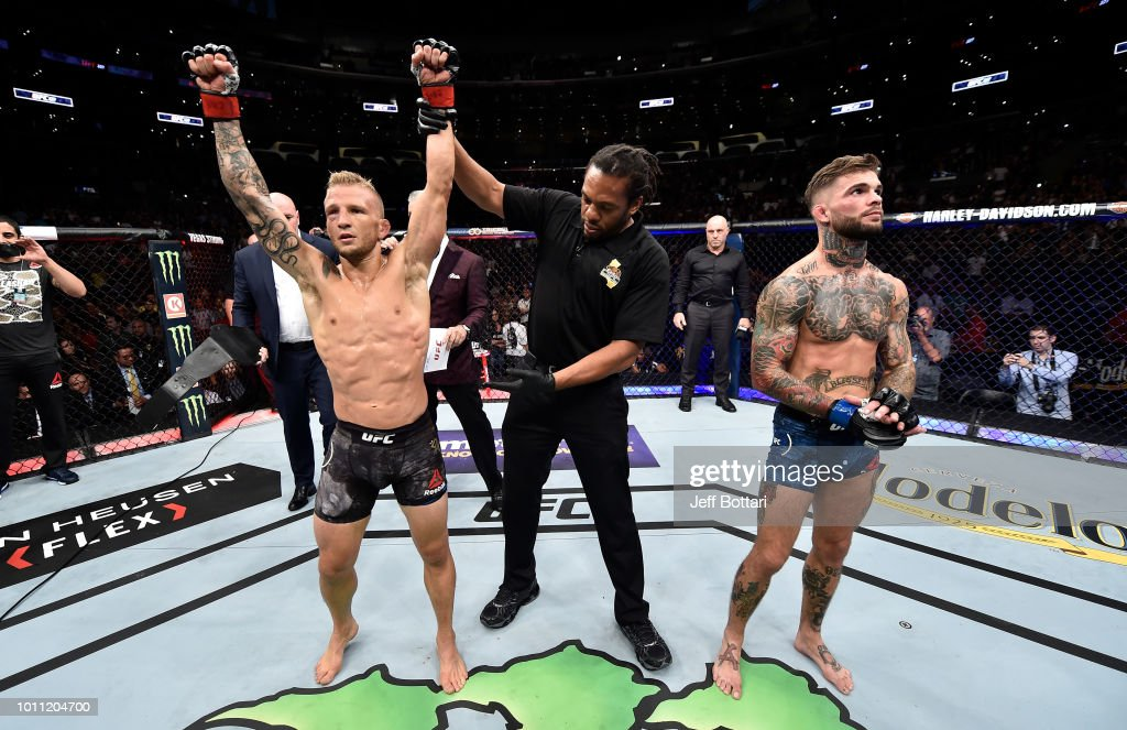 TJ Dillashaw celebrates after his knockout victory over Cody Garbrandt in their UFC bantamweight championship fight during the UFC 227 event inside Staples Center on August 4, 2018 in Los Angeles, California.