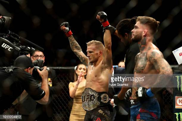 Dillashaw celebrates his UFC Bantamweight Title Bout win over Cody Garbrandt during UFC 227 at Staples Center on August 4 2018 in Los Angeles United...