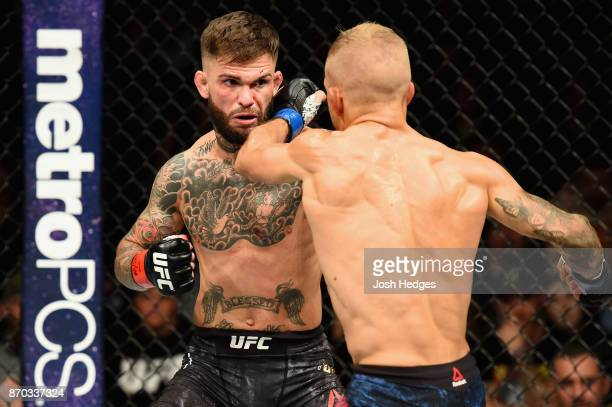 Dillashaw fights Cody Garbrandt in their UFC bantamweight championship bout during the UFC 217 event at Madison Square Garden on November 4 2017 in...