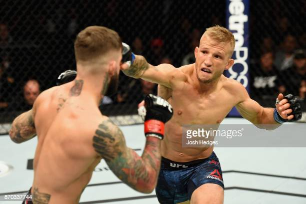 Dillashaw lands a punch against Cody Garbrandt in their UFC bantamweight championship bout during the UFC 217 event at Madison Square Garden on...
