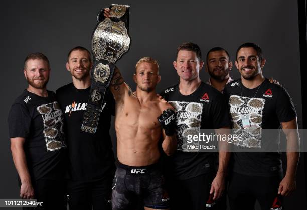 Dillashaw poses for a portrait backstage with his team after his victory over Cody Garbrandt during the UFC 227 event inside Staples Center on August...