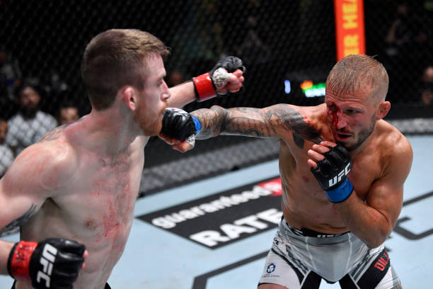 Dillashaw punches Corey Sandhagen in their bantamweight fight during the UFC Fight Night event at UFC APEX on July 24, 2021 in Las Vegas, Nevada.