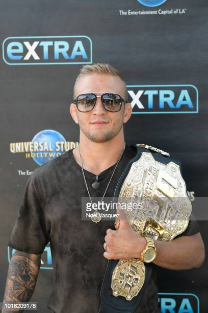 J Dillashaw visits Extra at Universal Studios Hollywood on August 13 2018 in Universal City California