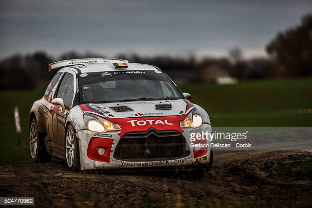 Dilley and Louka in the Citroen DS3 R3 MAX in action during the 42e Rallye Du CondrozHuy in Huy Belgium on November 7 2015