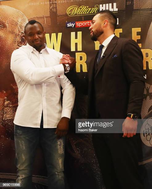Dillian Whyte and Joseph Parker shake hands after the Dillian Whyte and Joseph Parker Press Conference at The Dorchester Hotel on June 7 2018 in...