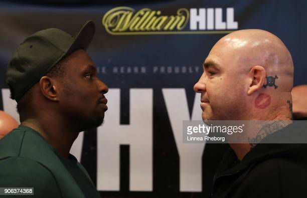Dillian Whyte and Lucas Browne facetoface during a press conference for their heavyweight fight at Trinity House on January 18 2018 in London England