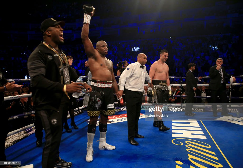 Dillian Whyte celebrates victory over Joseph Parker after the Heavyweight fight between Dillian Whyte and Joseph Parker at The O2 Arena on July 28, 2018 in London, England.