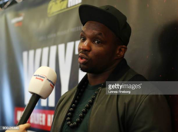 Dillian Whyte is interviewed during a press conference for the heavyweight fight between Dillian Whyte and Lucas Browne at Trinity House on January...
