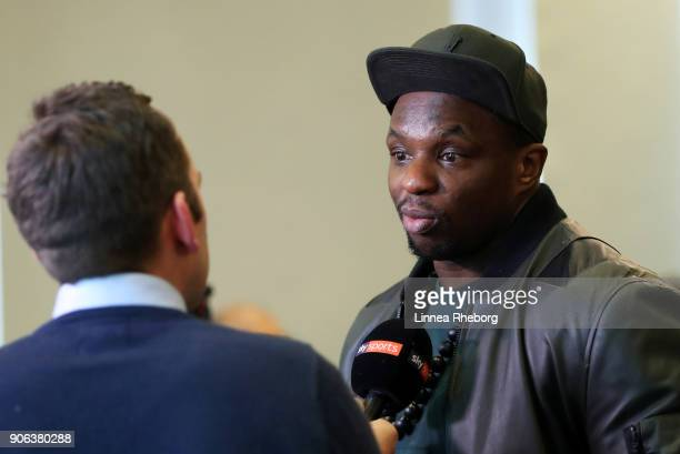 Dillian Whyte isinterviewed during a press conference for the heavyweight fight between Dillian Whyte and Lucas Browne at Trinity House on January 18...