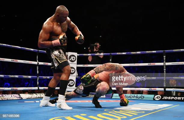 Dillian Whyte knocks out Lucas Browne in the sixth round for victory during their WBC Silver Heavyweight Championship at The O2 Arena on March 24...