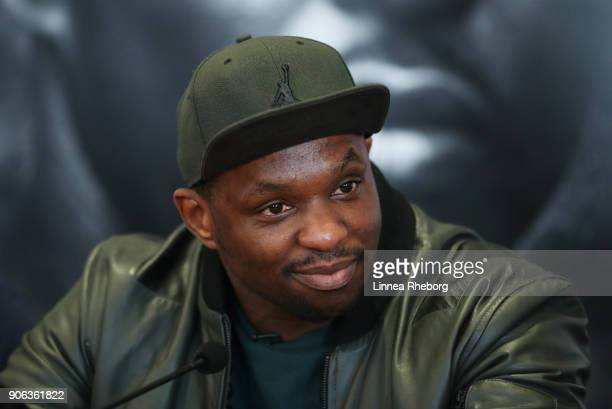 Dillian Whyte looks on during a press conference for the heavyweight fight between Dillian Whyte and Lucas Browne at Trinity House on January 18 2018...