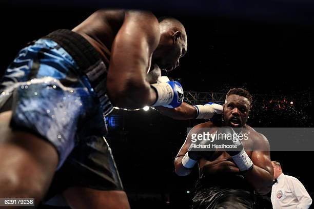 Dillian Whyte of Brixton in action against Dereck Chisora of Finchley during their WBC World Heavyweight Title Eliminator WBC International...