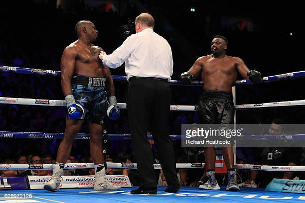 Dillian Whyte of Brixton is spoken to by the Referee during his WBC World Heavyweight Title Eliminator WBC International Championship fight against...