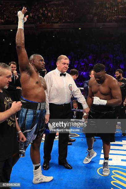 Dillian Whyte of Brixton reacts to his victory over Dereck Chisora of Finchley during their WBC World Heavyweight Title Eliminator WBC International...