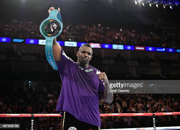Dillian Whyte poses with the belt after defeating Brian Minto for the Vacant WBC International Silver Heavyweight title during 'Heavy Duty' fight...