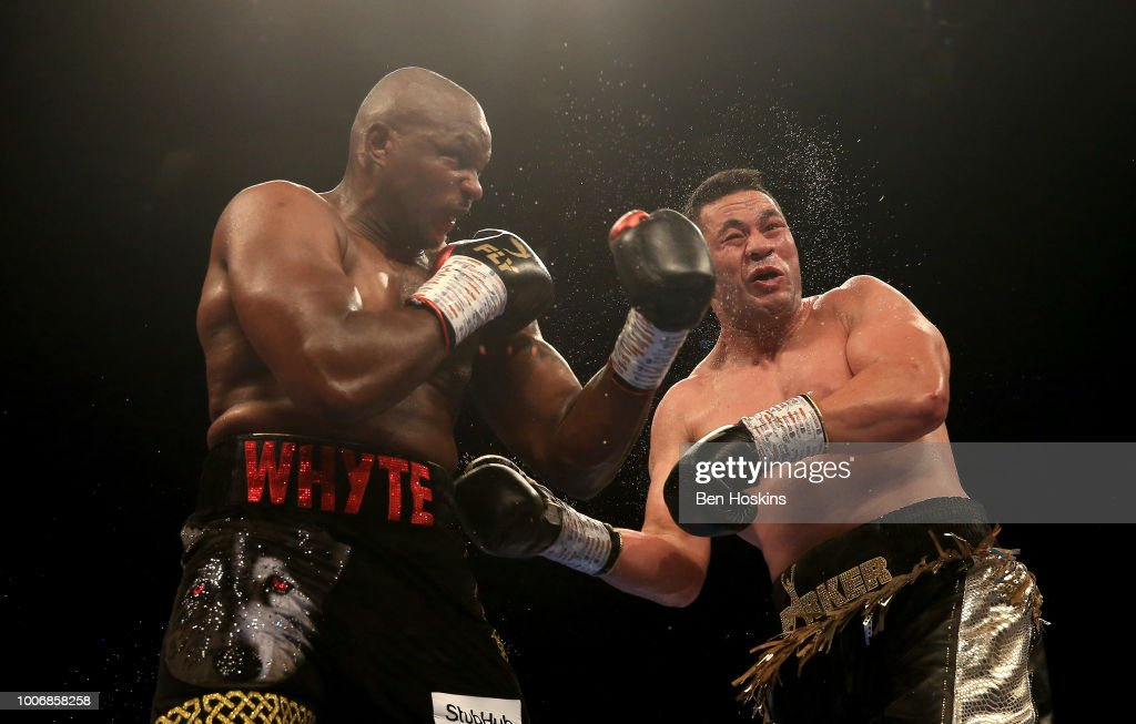Dillian Whyte punches Joseph Parker during the Heavyweight fight between Dillian Whyte and Joseph Parker at The O2 Arena on July 28, 2018 in London, England.