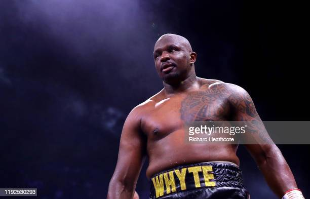 Dillian Whyte reacts to victory over Mariusz Wach after the Heavyweight fight between Dillian Whyte and Mariusz Wach during the Matchroom Boxing...