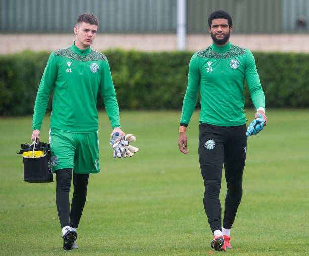 Dillon Barnes and Murray Johnson during a Hibs training session at HTC, on October 06 in Edinburgh, Scotland.
