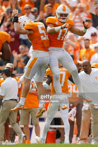Dillon Bates of the Tennessee Volunteers celebrates with Colton Jumper against the South Carolina Gamecocks during the first half at Neyland Stadium...