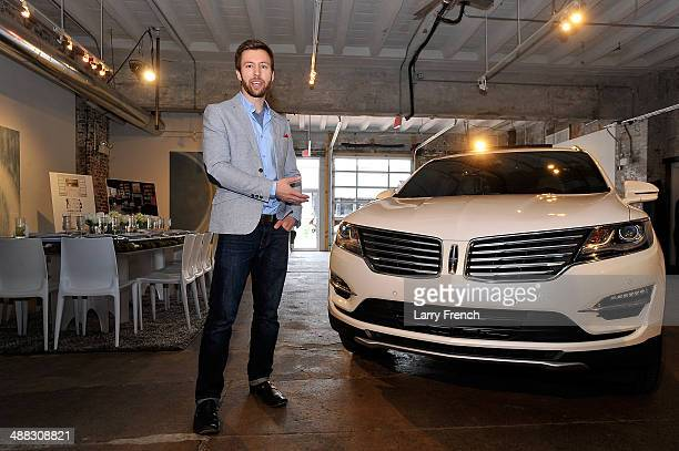 Dillon Blanski Lincoln MKC Exterior Designer speaks to guests during a design discussion and luncheon featuring the all new Lincoln MKC at Long View...