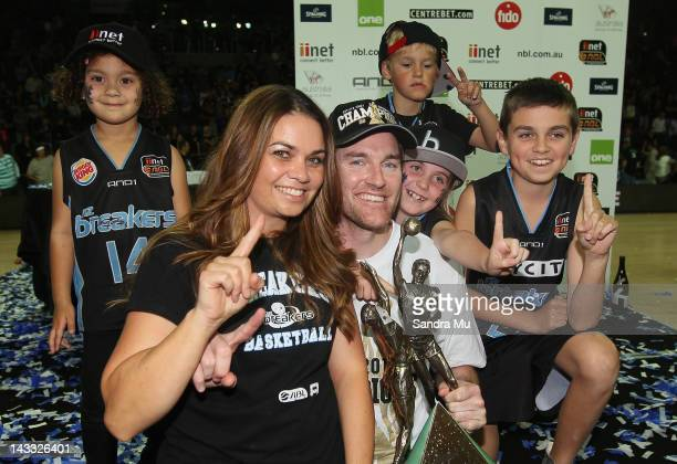 Dillon Boucher of the Breakers and his family celebrate winning the NBL Grand Final series between the New Zealand Breakers and the Perth Wildcats at...